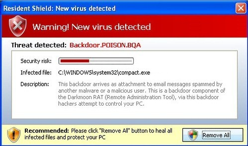 Image of one of the many random messages this virus can display